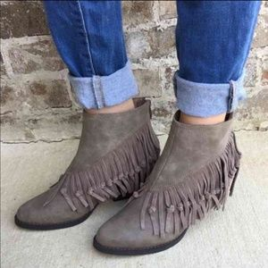 Charcoal Fringe Knotted Distressed Ankle Boots